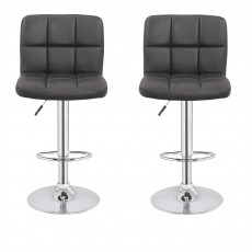 2 x Homegear M2 Contemporary Adjustable Bar Stools Black